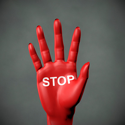 Stop - Red Hand with inscription